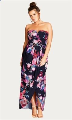 9ae4fc3cfb5d7 Get romantic in this thoughtfully floral maxi dress. Key Features Include -  Strapless neckline with detatchable straps- Deep V decolletage cut out-  Side ...