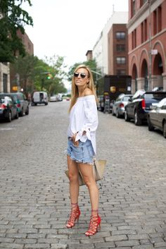 Tibi Off The Shoulder Top and Levi's Shorts
