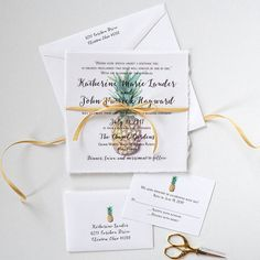 Watercolor Pineapple Wedding Invitation Tropical by MospensStudio