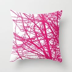 Magenta Modern Tree Branches Throw Pillow by Aldari Art Studio - $20.00