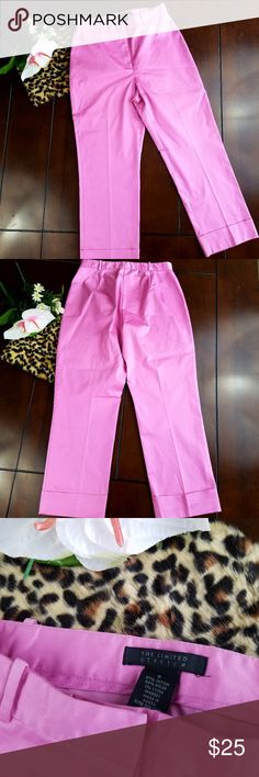 "High Waist Cuffed Stretch Capris Pants - Pink sz 6 How cute are these pair of The Limited ankle capris pants? Dress it up or keep it casual, would be a great addition to your own closet.   Size 6 57% cotton 40% Nylon 3% Lycra.  Made in Korea.  Dry clean only.  Waist: 27"" Inseam: 24"" Front Rise: 10.75"" The Limited Pants Capris"