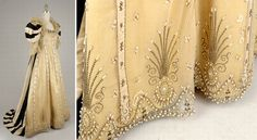 Court presentation gown, Worth, 1890s. Yellow silk chiffon with silk tulle overlay, embellished with pearls & grosgrain ribbon with deep sprigged cartouche at hem. Buckram-lined puffed sleeve with tulle engageantes & Watteau train of striped vanilla & black-ribbed satin taffeta. Goldenrod silk satin lining. Boned bodice laced at back. Doyle New York via Fripperies & Fobs