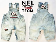 Football Season �loving these NFL custom overalls ... Made to order can be custom NB-5 years .... $35 To place an order the link is in the Bio or giftedlilones.com.  Please state your team in the sellers note....
