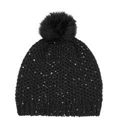 OASIS Fur Pom Sparkle Beanie ($15) ❤ liked on Polyvore featuring accessories, hats, black, fur hat, pom pom beanie hat, pom beanie, black beanie hat and sparkly hats
