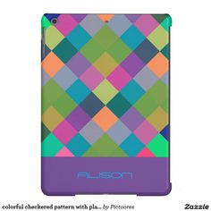 colourful #chequered #pattern with place for your name - #iPad #air #cover #case