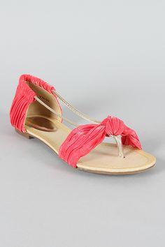 Tia-02 Knotted Pleated Open Toe Flat Sandal