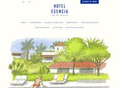 A great hotel website design example with some really well done original illustrations and subtle animation. Very original hotel website design.