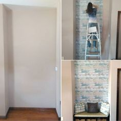 Thanks to our friends at Factory Paint for posting this fun before during and after! Love how our Beachwood NuWallpaper peel & stick wallpaper transformed this little nook into a super chic sitting area!