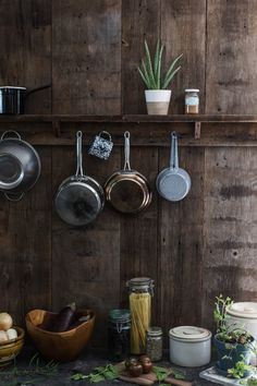 Wood wall country kitchen pot rack, by Jersey Ice Cream Co.