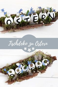 Easter: table decoration idea- Ostern: Tischdeko-Idee Easter table decoration idea: The table arrangement is a pretty Easter craft idea. Only natural materials are required for egg upcycling. The Easter DIY is a pretty gift idea. Easter Table Decorations, Decoration Table, Diy Adornos, Diy Décoration, Easy Diy, Table Arrangements, Diy Table, Natural Materials, Easter Crafts