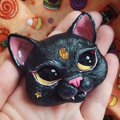 Hello everyone! Summer 🌞 passed and we are entering fall🍁🍁🍁, I really love this season especially when my favorite holiday of the year is… Halloween Cat, Halloween Themes, Witch Cat, Cat Necklace, Cat Doll, Polymer Clay Charms, Gifts For Pet Lovers, Ooak Dolls, Hello Everyone