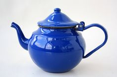 Vintage 1970 FRENCH Blue Enamel Tea Pot // Coffee Pop Retro East Europe Made 60s 80s 70s Enamelware Metal 1960 1980 Excellent Condition on Etsy, Sold