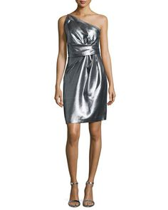 One-Shoulder Pleated Cocktail Dress, Silver by Halston Heritage at Neiman Marcus.