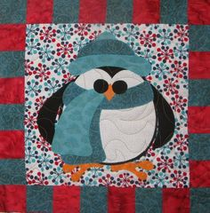 Penguin Cheer block by Moose Stash quilting.  Design by Sindy Rodenmayer | Fat Cat Patterns