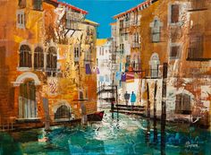 Mike Bernard. Venice, Summer Urban Landscape, Abstract Landscape, Landscape Paintings, Landscapes, Mike Bernard, Watercolor Architecture, Abstract City, Watercolor Pictures, West Art