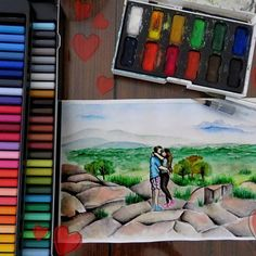 Se acerca San Valentín, y nos   llenamos de ♥♡♥ →→Regalá arte☆ Pedidos por inbox!   Primera de tres acuarelas enamoradas, para @eliianaespinosa ♡ ●PARTE DEL AIRE●