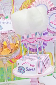 "Mary Poppins themed party ""Chimney Sweet Smoke"" = white cotton candy on a paper straw. Add a cute tag for good measure ""supercalifragilisticexpialidocious"""