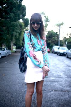 CO by COTTON on skirt and shirt, TONY BIANCO shoes, H & M socks , VINTAGE backpack