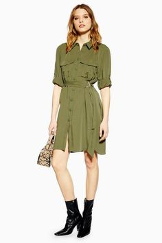 Nod to the utility trend with this khaki coloured shirt dress in a mini style. Pair with bold black ankle boots to complete the look. Khaki Shirt Dress, Mini Shirt Dress, 1960s Fashion, Boho Fashion, Fashion Hats, Topshop Tall, Dress Images, Women's Fashion Dresses, Fashion Clothes