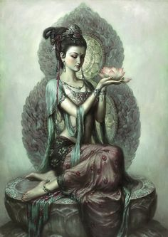 Kwan Yin~KUAN YIN - GODDESS OF LOVE AND COMPASSION~ Kuan Yin, the Goddess of Mercy and Compassion, is a manifestation of the Divine Mother and serves mankind in much the same way as Mother Mary. Many think of her as the Buddhist Madonna and Saviouress of the East. Her names are as numerous as those of Mother Mary and her title and office as a Goddess denotes her level of attainment as a Cosmic Being.