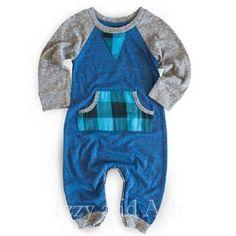 Miki Miette Infant Boys Blue Plaid Playsuit