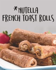 These indulgent breakfast pastries create the perfect union between cinnamon rolls to French toast. Nutella adds a delicious element that you'll love! and Drink deserts dessert recipes Nutella French Toast Rolls French Toast Rolls, Nutella French Toast, Baked French Toast, Stuffed French Toast, Homemade French Toast, Healthy French Toast, French Toast Sticks, Cooking Recipes, Healthy Recipes