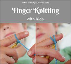 Finger Knitting For Kids :: An Easy DIY Tutorial : Finger Knitting For Kids :: . - knitting for beginners teaching - Epoxy ontwerp Knitting Club, Arm Knitting, Knitting For Kids, Knitting Machine, Finger Knitting Projects, Finger Crochet, Hand Crochet, Craft Projects For Kids, Craft Kids