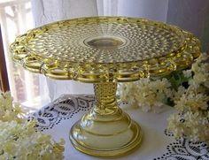 Amber EAPG Depression Glass Cake Pedestal