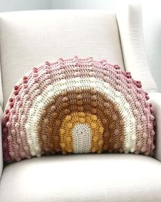 Shop - Mama Made Minis - crochet pillow - Rainbow Modern Crochet, Crochet Home, Crochet Crafts, Crochet Baby, Crochet Projects, Knit Crochet, Crochet Cushions, Crochet Pillow, Minis