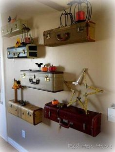 Suitcase shelves in diy architecture  with Vintage suitcase Shelves