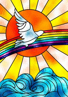 Stained glass composition showing a white dove flying over a rainbow and a bright sun. Free art print of Peace dove. Stain Glass Cross, Faux Stained Glass, Stained Glass Panels, Stained Glass Patterns, Rainbow Glass, Rainbow Art, Crea Design, Peace Dove, Church Banners
