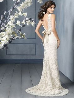 Sheath/Column Straps Lace Satin Court Train Sashes / Ribbons Wedding Dresses -£200.49