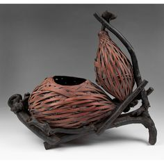 Japanese Double Gourd Hyotan Basket Of Woven Bamboo from piatik on Ruby Lane