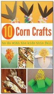 10 simple corn crafts to do with the kids this fall. Great corn craft ideas for Thanksgiving or anytime at all! Toddlers, preschoolers, kindergarteners and even older kids will all enjoy these fun corn crafts. || Gift of Curiosity