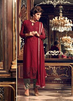 Buy party wear salwar kameez such as indian party wear salwar suit, designer party wear salwar kameez online. Grab this faux georgette embroidered and lace work designer straight suit. Party Wear Dresses, Casual Dresses, Ethnic Trends, Salwar Kameez, Salwar Suits, Churidar, Punjabi Suits, Kurti, Indian Party Wear