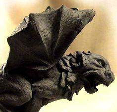 Gothic Gargoyles | GOTHIC-MEDIEVAL-GARGOYLE-black-stone-statue-ancient-replica