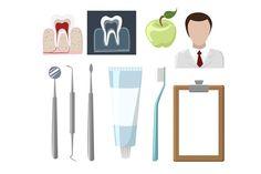 Dental care flat decorative icons . Human Icons. $5.00