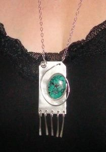 Sterling Silver Oval Turquoise Fringe Necklace