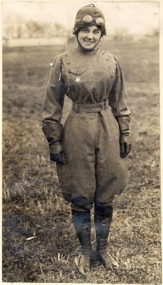 Matilde Moisant, 1911. Moisant was the second woman in the United States to receive a pilot's license. She flew in aviation meets throughout the US and Mexico until the early spring of 1912, often flying at higher altitudes than most male pilots. She is pictured here, wearing a (pre-WWII) swastika brooch as a good luck charm. NASM-73-3564