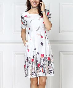 White Floral Empire-Waist Dress - Plus Too