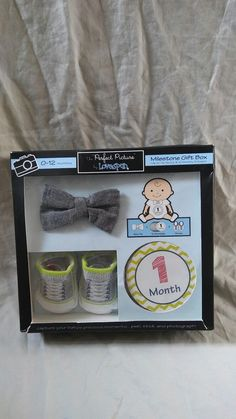 Milestone Gift Box Clip on Bow Tie Socks and Stickers Baby boy Shower Gift #BabyBowTie #PerfectPicturebyLovespun