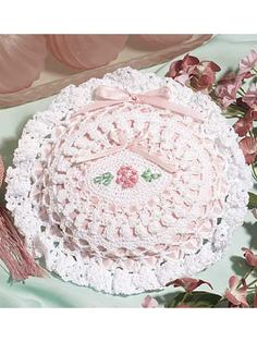 This blushing pink pillow inside delicate beaded crochet is accented with ribbons and embroidery.Sachet size: 7 x 8 inches (appx)Skill level: Intermediate - Crochet Sachet, Crochet Gifts, Crochet Doilies, Crochet Bags, Crochet Home, Free Crochet, Crochet Kitchen, Free Pattern Download, Shabby Chic Pillows