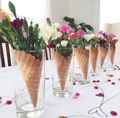 Floral Arrangement adds a classic and beautiful style to your home - Blumen ideen Baby Dekor, Ice Cream Social, Waffle Cones, Waffle Bar, Deco Floral, Ice Cream Party, Ice Cream Cones, Ice Cream Theme, Table Centerpieces