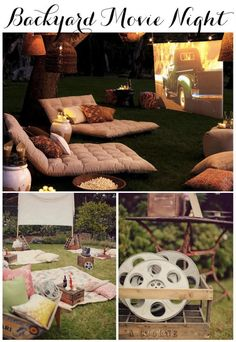 Linen, Lace, & Love: End of Summer Party Ideas! 3 different ways to send off the summer! #summer #party #ideas Backyard movie night