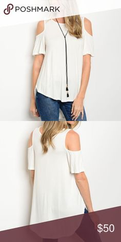 Cold Shoulder Ivory Top NO TRADES | FIRM PRICE | BUNDLE DISCOUNTS  || Ivory tee || Open shoulder details || High-low hem || 95% rayon / 5% spandex  Approximate flat measurements:  Small Bust Length  Medium Bust Length  Large Bust Length  - Boutique items are still in bag from manufacturer & stock photos are exact item - lilacs & lace Tops