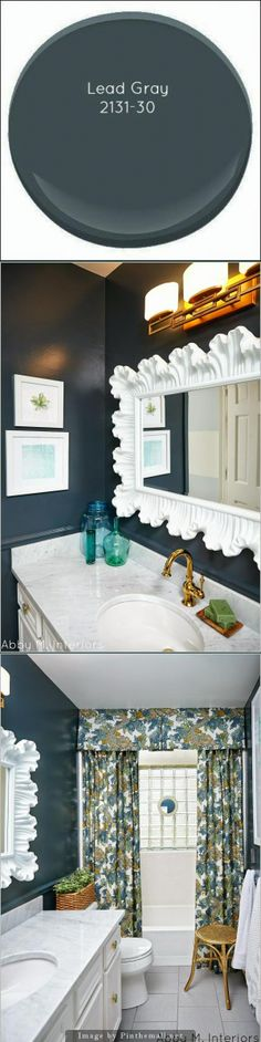 Designer tip: the key to going super dark is to go all the way with the color.  Not only did I paint the walls, but the chair rail and the baseboards.  I think I'm even going to paint the trim around the door and possibly the interior side of the door. Benjamin Moore Lead Gray is nearly black with a navy undertone. Used here in gloss finish.