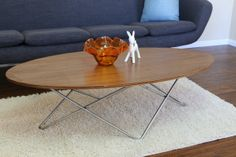 Elliptical Walnut mid century Coffee Table by RetroEvolutionDesign, $290.00