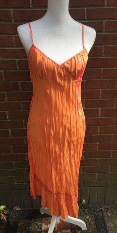 21da3c53 Banana Republic Silk Sun Dress Size 8 Orange Crinkle Spaghetti Straps  Iridescent