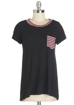 Percussion Discussion Tee - Mid-length, Jersey, Knit, Black, Red, Solid, Pockets, Casual, Short Sleeves, Crew, Black, Short Sleeve, White, Stripes, High-Low Hem, Basic