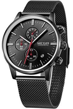 Megir Herren Elegant Schwarz Gold Silber Casual Luxury Chronograph Sport stylische Analog Quarz Marken Uhr - http://uhr.haus/findtime/megir-herren-elegant-schwarz-gold-silber-casual-2